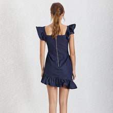 Load image into Gallery viewer, Navy Ruffle Sleeve and Skirt Zipper Front Dress - BEYAZURA.COM