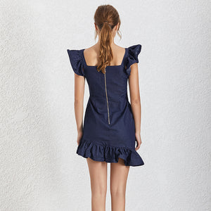 Navy Ruffle Sleeve and Skirt Zipper Front Dress - BEYAZURA.COM