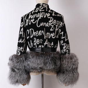 Cashmere Logo Jacket with Dusty Black Fox Fur Trim Leather Waist Tie - BEYAZURA.COM