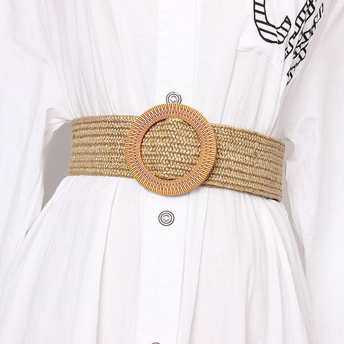 Brown Wide Striped Straw Round Buckle Belt - BEYAZURA.COM