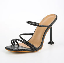 Load image into Gallery viewer, Square Toe Strapped Heel Sandals - BEYAZURA.COM