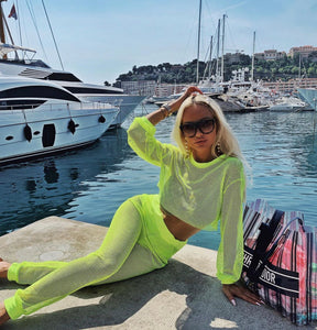 Neon Green Mesh Top and Pants - BEYAZURA.COM