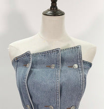 Load image into Gallery viewer, Strapless Belted Denim Top - BEYAZURA.COM
