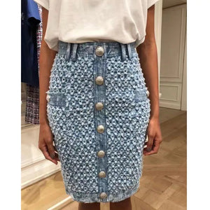 Denim Worn Out Hollow Midi Skirt - Beyazura.com