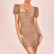 Load image into Gallery viewer, Mini Ruched Puff Sleeve Dress - BEYAZURA.COM