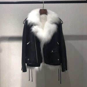Sheepskin Leather Biker Jacket With Fox Fur Vest Lining - BEYAZURA.COM