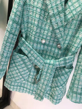 Load image into Gallery viewer, Green Tweed Big Pocket Belted Jacket - BEYAZURA.COM
