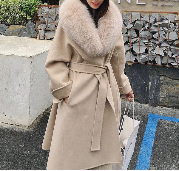 Long Wool Coat With Fox Fur Collar - Beyazura.com