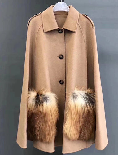 Fox Fur Patched Pocked Wool Cape Poncho - BEYAZURA.COM