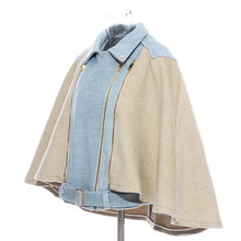 Load image into Gallery viewer, Belted Contrast Half Denim Cape Jacket - BEYAZURA.COM