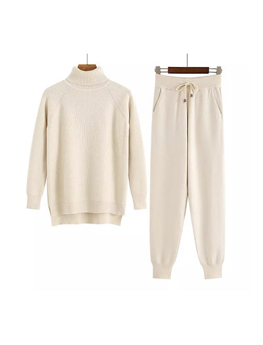 Beige Turtleneck Ribbed Long Sleeve Top and Jogging Pant Coord Set