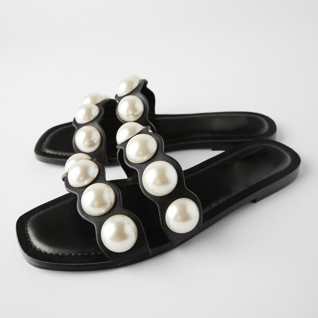 Black Pearl Decorated Flat Slides - BEYAZURA.COM