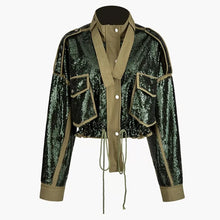 Load image into Gallery viewer, Military Chic Sequined Jacket - BEYAZURA.COM
