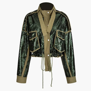 Military Chic Sequined Jacket - BEYAZURA.COM