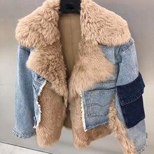 Load image into Gallery viewer, Sporty Denim Jacket With Sheepkin And Sheep Fur Trims - BEYAZURA.COM