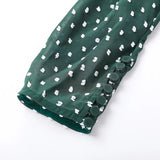 Green Polka Dot Skew Collar Top - Beyazura.com