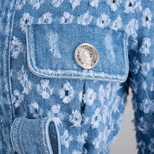 Load image into Gallery viewer, Denim Worn Out Hollow Belted Jacket - BEYAZURA.COM