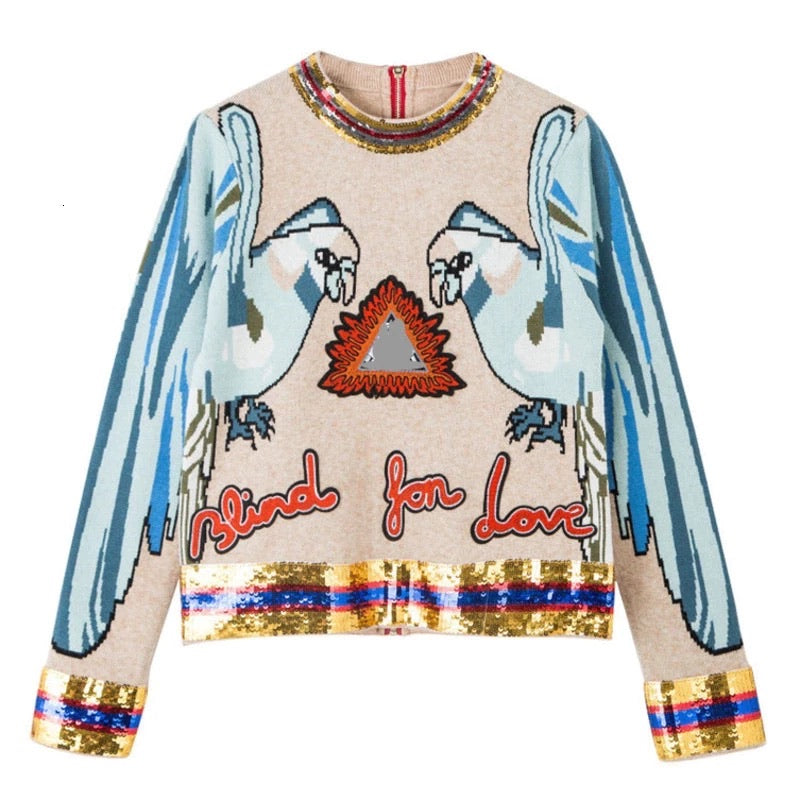 BLIND 4 LOVE ROUND NECK SEQUIN SWEATER - BEYAZURA.COM