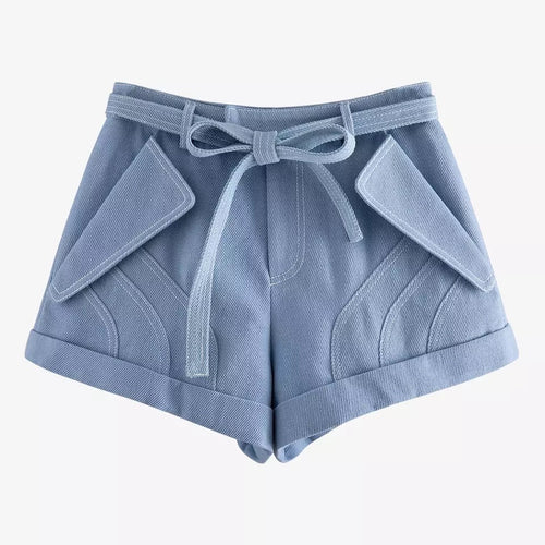 Light Blue Bow Tie Belt Shorts - BEYAZURA.COM