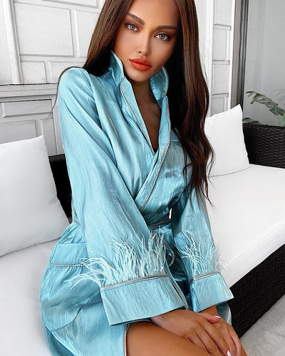 Silky Soft Feather Sleeve Short Duster - Beyazura.com