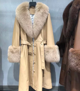 Sheep Skin Leather Long Coat With Fox Fur Collar and Sleeves - Beyazura.com