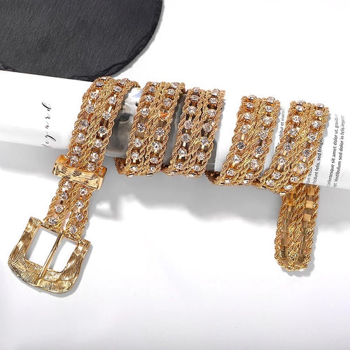 Gold Thick Chain Metal Belt With Crystals - BEYAZURA.COM