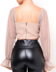 Blush Pink Polka Dot Transparent Sleeve Ruched Crop Top - BEYAZURA.COM