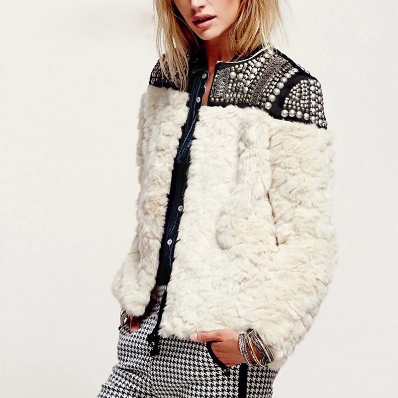 LIGHT FAUX FUR STUDDED JACKET