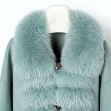 Load image into Gallery viewer, Luxury Wool Cashmere Coat With Fox Fur Trims - BEYAZURA.COM