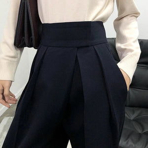 High Waist Loose Pleated Wide Leg Pants - BEYAZURA.COM