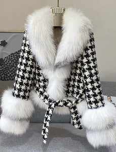 Houndstooth White Fox Fur Trim Belted Wool Jacket - BEYAZURA.COM