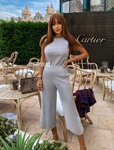 Sleeveless Knit Top and High Waisted Cropped Pants Two Piece Set - BEYAZURA.COM