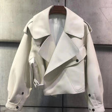 Load image into Gallery viewer, Oversized Fit Big Collar Leather Jacket - BEYAZURA.COM