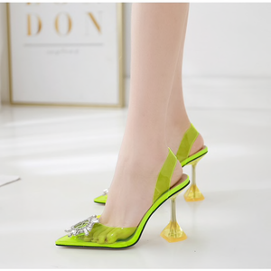 Pointed Toe Crystal Clear Heels in Neon Green - Beyazura.com
