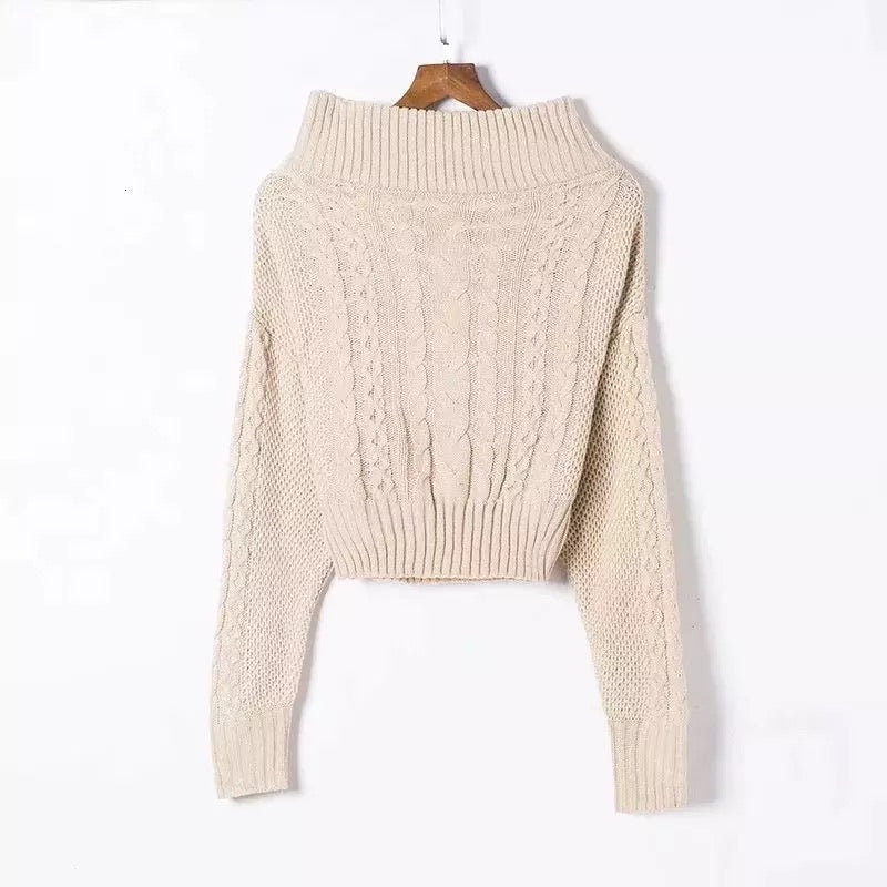 OFF THE SHOULDER RIBBED KNIT SWEATER