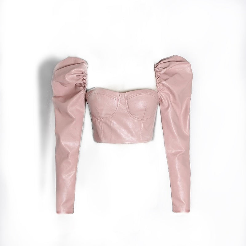 Pu Leather Puff Long Sleeve Crop Bandage Top in Pink - BEYAZURA.COM