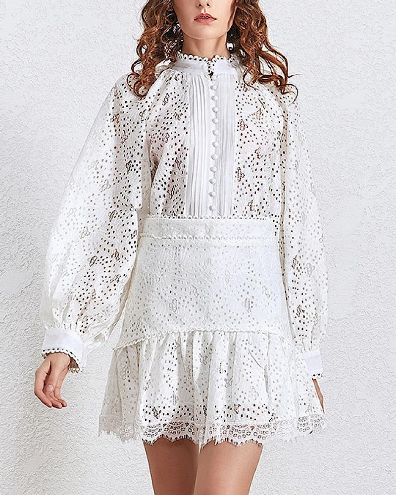 Lace Shirt and Ruffle Skirt Two Piece Set - BEYAZURA.COM