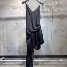 Load image into Gallery viewer, Satin Asymmetrical Draped Short Dress in Black - BEYAZURA.COM