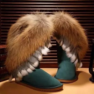 Raccoon And Rabbit Fur Cow Leather Boots - BEYAZURA.COM
