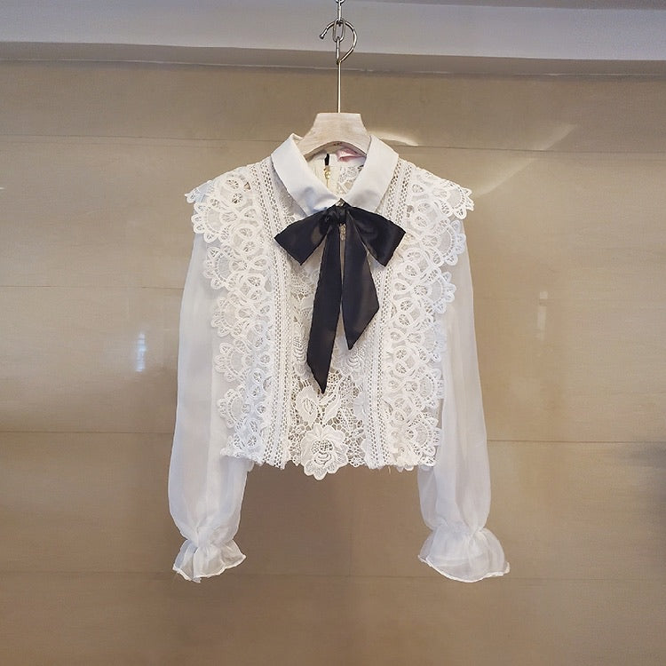 White Lace Sheer Bow Neck Shirt - BEYAZURA.COM