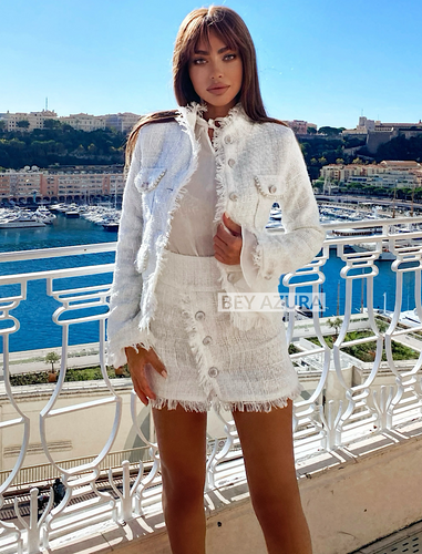 White Tweed High Neck Jacket With Short Skirt Two Piece Set