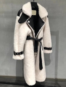 Genuine Sheep Shearing Fur Wool Coat - Beyazura.com