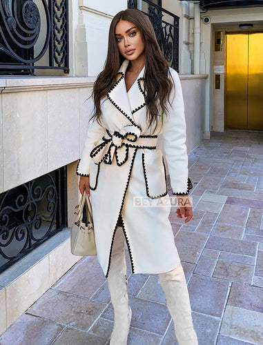 Midi Trench Coat With Contrast Edges