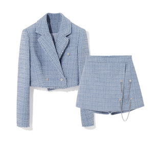 Blue Tweed Cropped Jacket and Short Skort Coord Set - BEYAZURA.COM