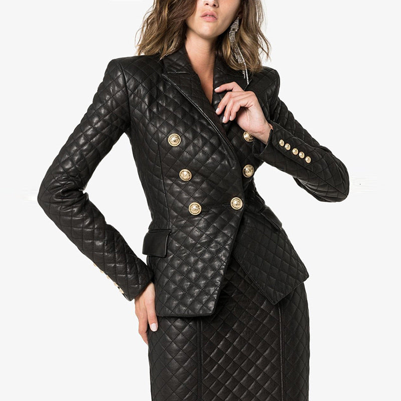 Plaid Vegan Leather Blazer And Skirt Two Piece Set - BEYAZURA.COM