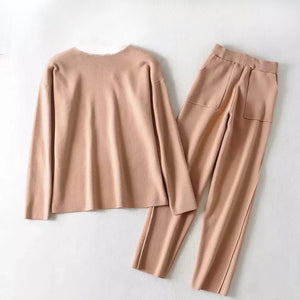 Brown Knit Long Sleeve Top and Slim Trouser Two Piece Set - BEYAZURA.COM