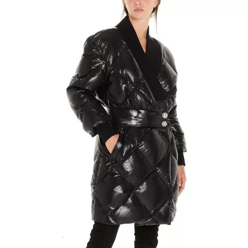 WOVEN SHINY FINISH PARKA IN BLACK - BEYAZURA.COM
