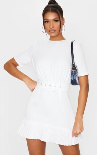 PLT White Ruched Bust Belt Detail Pleated Hem Shift Dress - BEYAZURA.COM