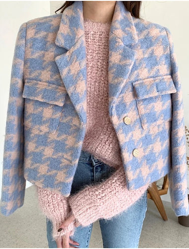 Blue And Pink Tweed Jacket - Beyazura.com