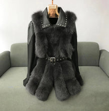 Load image into Gallery viewer, Four Panel Fox Fur Gilet Leather Trim Coat - BEYAZURA.COM